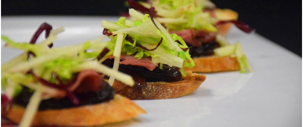 Smoked Duck Breast & Onion Bacon Jam Crostini with Gouda